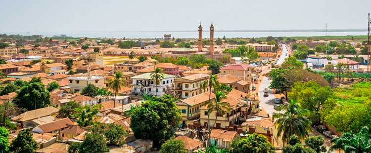 Ariel view of the town of Banjul in The Gambia