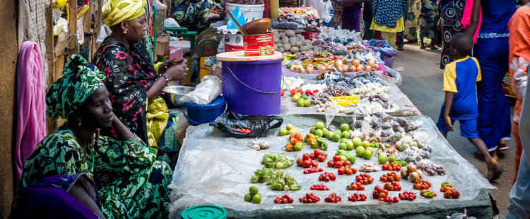 Gambian women selling fruit and vegetables at the local market