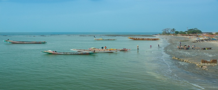 small fishing boats in the sea near gambia